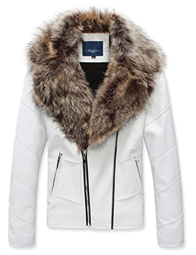 Leather Coat With Fur Collar - 3