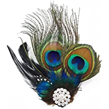 yueton?Peacock Feather Hair Clip Pin Bridal Wedding Dance Party Hair Accessory