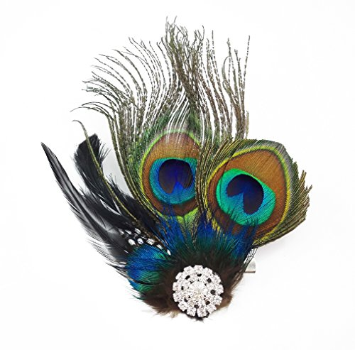yueton?Peacock Feather Hair Clip Pin Bridal Wedding Dance Party Hair Accessory]()