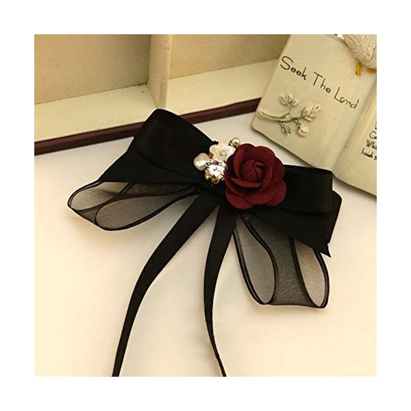 ICEYUN women black bow tie red rose pearl pendant necktie brooch dual use accessories