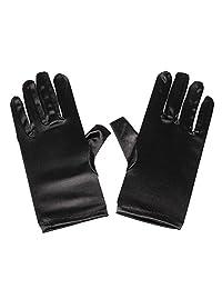 Women's Wrist Length Adult Size Satin Gloves, (Black)