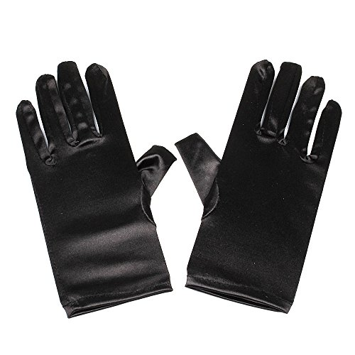 Black Satin Gloves Wrist Length For Ladies (Black) ()