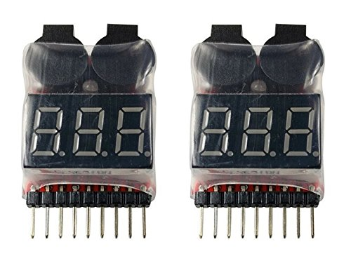 Apex RC Products 2 Pack Lipo Battery Voltage Checker Alarm LED 1-8 Cell 1655 ()