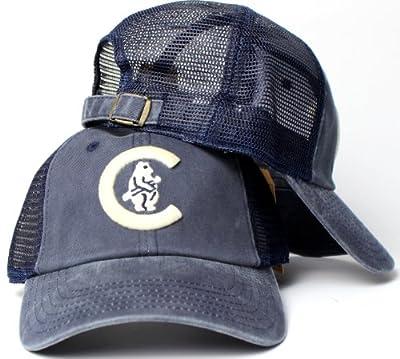Chicago Cubs MLB American Needle Raglan Bones Soft Mesh Back Slouch Twill Cap Navy
