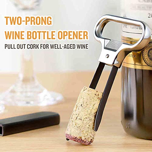 Decdeal 4 Pcs Two-Prong Cork Puller with Cover, Steel Vintage Wine Bottle Opener Champagne Kitchen Bar Corkscrew