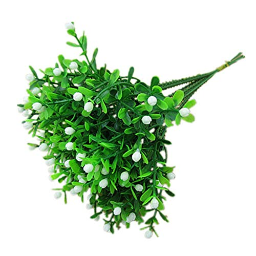 Green Artificial Flower Simulation Milan Small Bouquet Plastic Plant Flowers for Wedding Home Office Party Decoration Art,WT