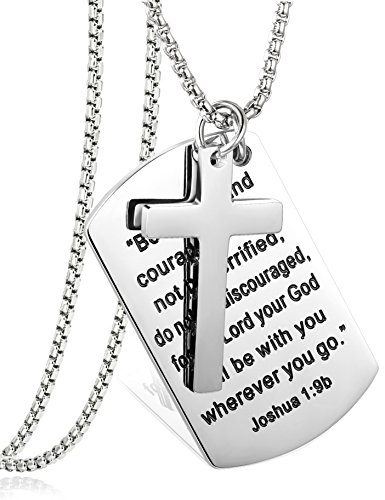 LOYALLOOK Stainless Steel Dog Tags Cross Necklaces Inspirational Jewelry Gift for Girl Teen Daughter Men Bible Prayer Joshua 1:9b Silver Tone