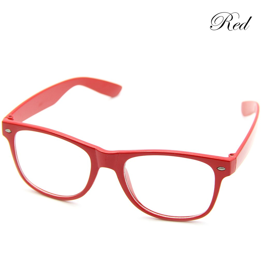 f3cc0109dd8 Amazon.com  Doober Men Boy Women Girl Unisex Clear Lens Wayfarer Nerd Geek  Glasses Eyewear 1pc (Red