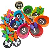 Skoolzy Butterfly Counting Montessori Toys for Toddlers - Matching Game, Color Sorting Preschool Learning Toys - Educational STEM Toys for Girls & Boys Age 2 3 4 5 Year Old - 75pc Math Manipulatives