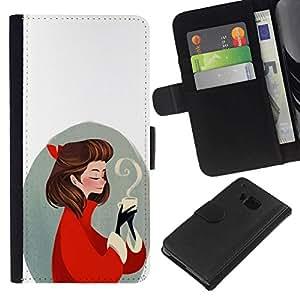 // PHONE CASE GIFT // Moda Estuche Funda de Cuero Billetera Tarjeta de crédito dinero bolsa Cubierta de proteccion Caso HTC One M7 / Coffee love /