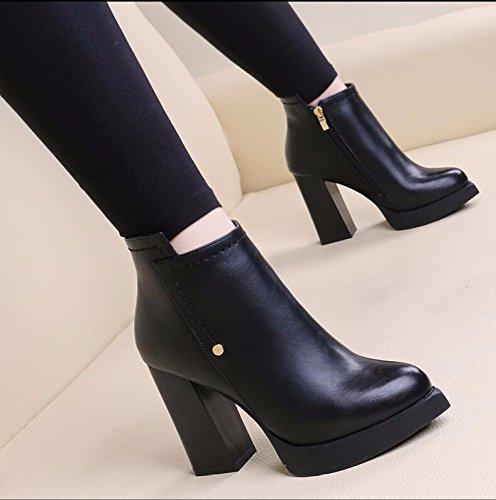 KHSKX-Schwarz 10 Cm Spitze Stiefel Dicke Mit Wasserdichten Taiwan High Heeled Blanken Stiefel Winter Plus Samt Wilde Gezeiten Martin Stiefel 39