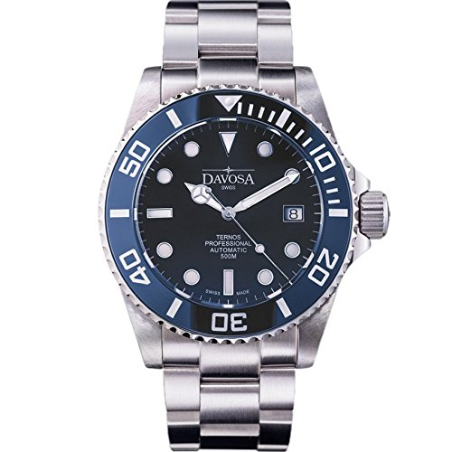 Davosa Swiss Made Men Watch, Automatic Analog Ternos Professional 16155940 for 500m Dives, Stainless Steel Wrist Band, Premium Ceramic Bezel