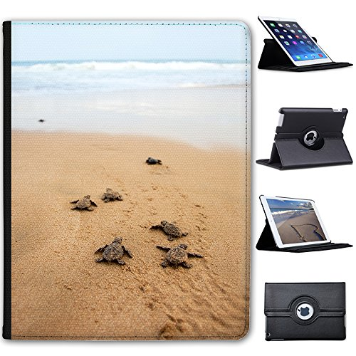Leather Case For Apple iPad 2, iPad 3 & iPad 4 (with Retina Display) - Baby Turtles Make Their Way To - Turtle Display