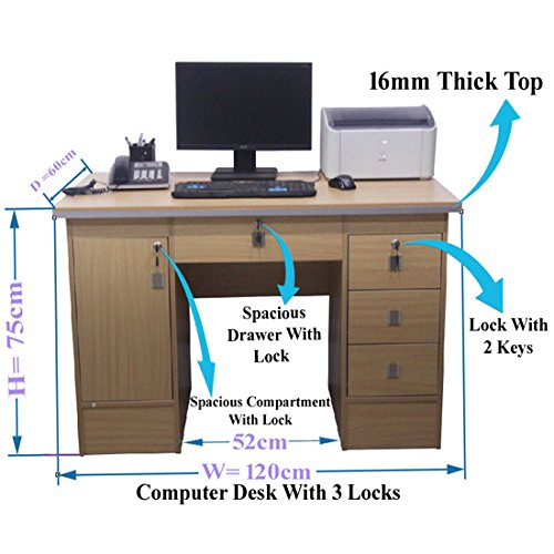 Computer Desk in Beech With 3 Locks 4 Home OfficeTable