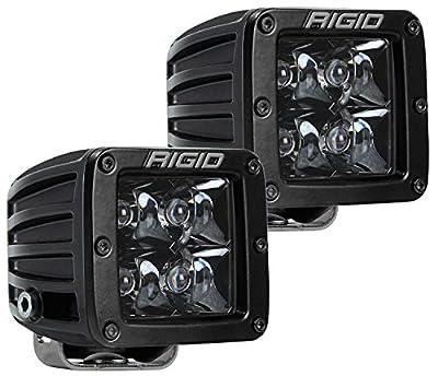 Rigid Industries 202213BLK D-Series Pro Spot Light; Surface Mount; Hybrid; 4 White LEDs; Black Enamel Finish; Midnight Black Square Housing; Pair;