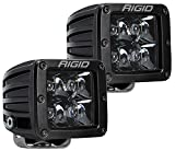 Rigid Industries 202213BLK D-Series Pro Spot Light; Surface Mount; Hybrid; 4 White LEDs; Black Enamel Finish; Midnight Black Square Housing; Pair;