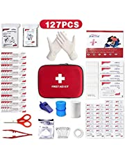 Mini Small First Aid Kit, 127Pcs Compact Travel Hard Case First Aid Kit Medical Trauma Kit Bag Includes Emergency Blanket, CPR Mask for Home, Car, School, Office, Outdoor Hiking, Camping, Survival