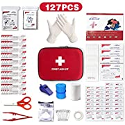 Mini Small First Aid Kit, 127Pcs Compact Travel Hard Case First Aid Kit Medical Trauma Kit Bag Includes Emergency…