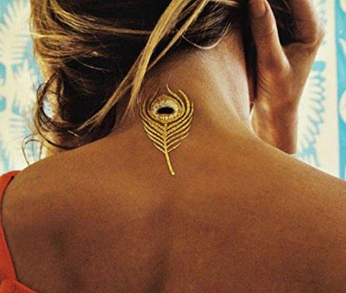 9 Tatouages éphémères métallique waterproof -Tatoo temporaire or - Bijou de peau plume de paon