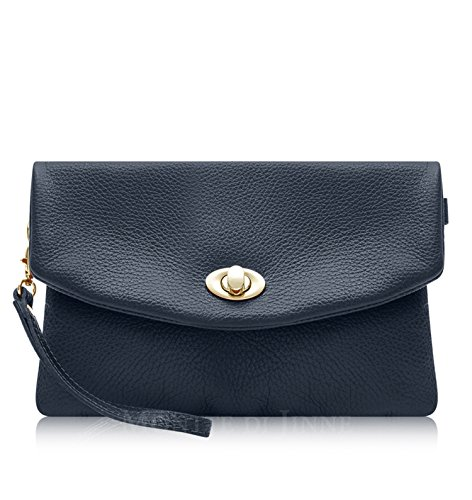Montte Di Jinne| Italian Leather Soft Leather Clutch Bag | Postman's Lock| - 100% Genuine Italian Leather Navy