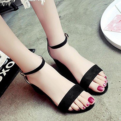 RUGAI-UE Sandalias de tacón verano zapatos de mujer Black