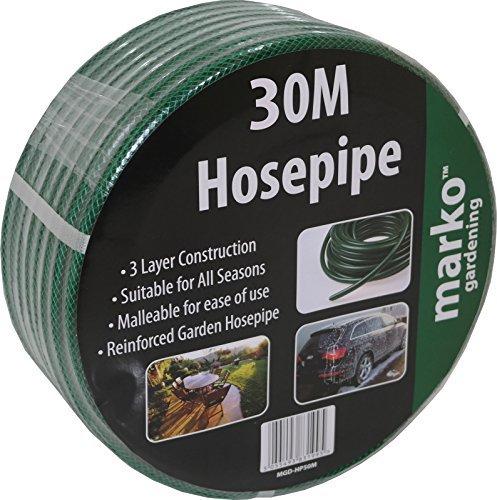 30M Garden Hose Pipe Reel Green Reinforced Hosepipe