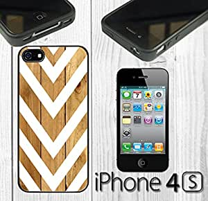 Arrow Pattern on Wood Custom made Case/Cover/skin FOR iPhone 4/4s - Black - Rubber Case