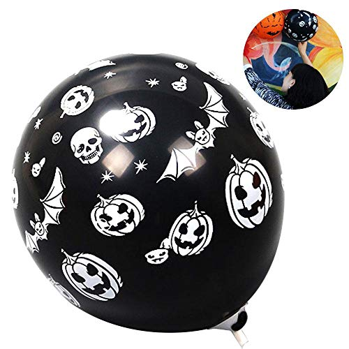 Aolvo 10Pcs 12 Inch Bat/Pumpkin/Skull/Spider Printed Latex Balloons for Halloween Party Decorations]()
