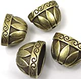 4 Large Antique Bronze Pewter Caps Focal Beads ~ Lead-Free ~