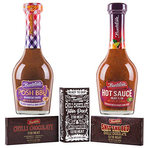 - Bunsters Posh BBQ Sauce + 7/10 Heat Hot Sauce + Chili Chocolate - (2 x 8oz bottles + 2 x 3.5oz chocolates)