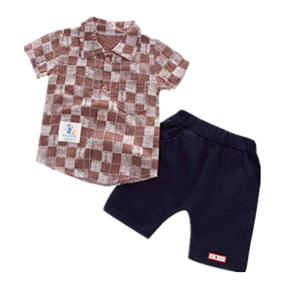 NUWFOR Toddler Baby Boy Gentleman Plaid Short Sleeve Shirt+Denim Shorts Sets Clothes(Coffee,18-24 Months