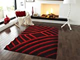 All New Contemporary Solid Colored Silky Touch Two Tone 3D Shag Rugs by Rug Deal Plus (5' x 7', Burgundy/Red)
