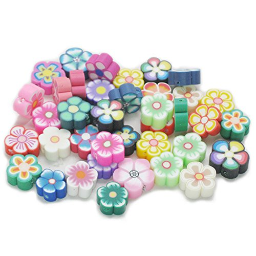 Bluemoona 200 PCS - Mixed Flower Fimo Polymer Clay Spacer Beads Clay Flower Spacer