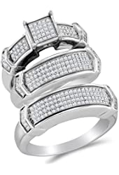 .925 Sterling Silver Plated in White Gold Rhodium Diamond His & Hers Trio 3 Three Ring Bridal Matching Engagement Wedding Ring Band Set - Square Shape Center Setting w/ Micro Pave Set Round Diamonds - (.68 cttw) - Please use drop down menu to select your desired ring sizes