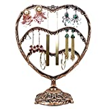 HQdeal Copper Color Heart-Shaped Earring Holder/Earring Oraganizer/Earring Stand/Earring Display Rack