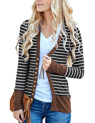 (Basic Faith Women's S-3XL V-Neck Button Down Knitwear Long Sleeve Soft Knit Casual Cardigan Sweater Stripe Brown)