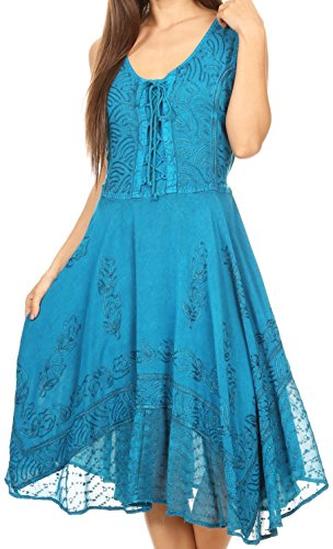Sakkas 17321 - Magdilena Stonewashed Corset Front Embroidered Dress - Turquoise - (Gypsy Corset Dress)