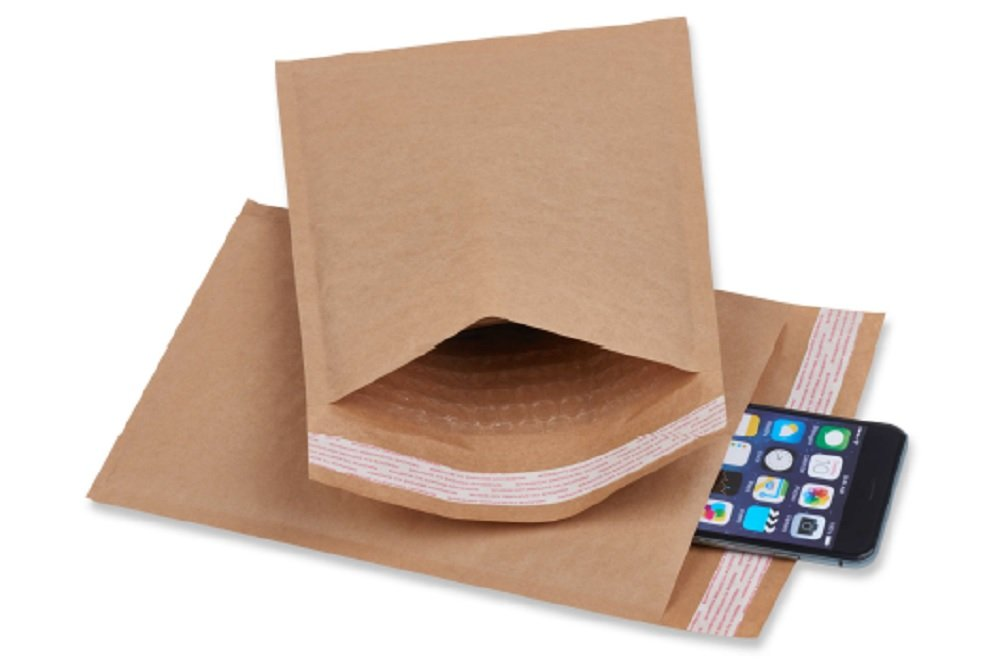CD Size Natural Kraft bubble mailers 7.25 x 7 Brown Padded envelopes 7 1/4 x 7 by Amiff. Pack of 20 Kraft Paper cushion envelopes. Exterior size 7.25 x 8 (7 1/4 x 8). Peel and Seal. Mailing, shipping.