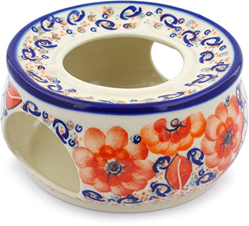 Polish Pottery 6½-inch Heater (Poppy Passion Theme) Signature UNIKAT + Certificate of Authenticity by Polmedia Polish Pottery