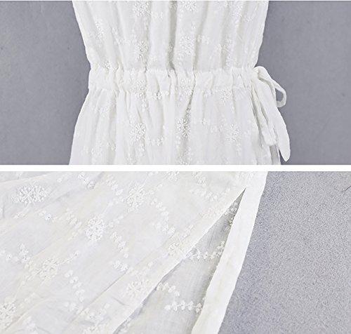 estivi Bianca Abiti Abito etnico femminili Sling stile cotone dimensioni spiaggia da L in White Bianca Dress Colore qFx0twa