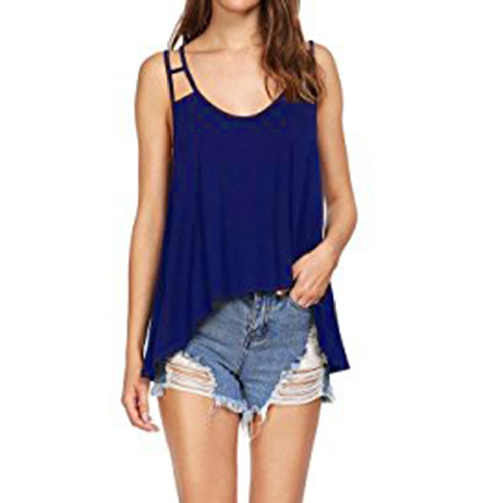 Women's Vest Top Summer Sexy Bandage Flowy Strappy Camis Loose Tank Blouse Crop Tees Dress Blue