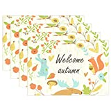 Top Carpenter Welcome Autumn Animals Doodle Place Mats Washable Heat Resistant Polyester Table Mats 12'' x 18'', Set of 4
