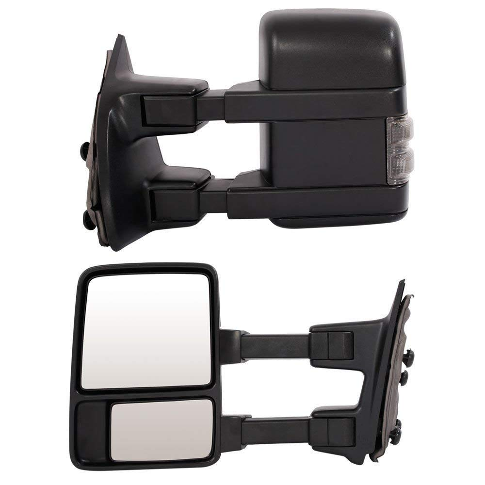 Roadstar Towing Mirrors Fit for 99-07 Ford F250 F350 F450 F550 Super Duty 01-05 Excursion Pair Set Extendable Smoke Power Heated with LED Signal Light Side Mirrors by Roadstar