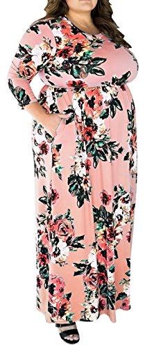 - PARTY LADY Women Scoop Neck Casual Floral Long Sleeve Plus Size Floral Maxi Dress Size 4XL Plus Pink