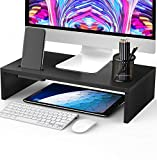 AMERIERGO Monitor Riser Stand - 16.5 Inch Desk Organizer Stand for Laptop Computer, Desktop Printer Stand with Phone Holder and Cable Management, Versatile as Storage Shelf & Screen Holder