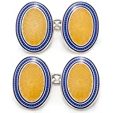 Deakin and Francis Men's Vitreous Enamel Cufflinks on a Chain Fitting - Blue/Yellow
