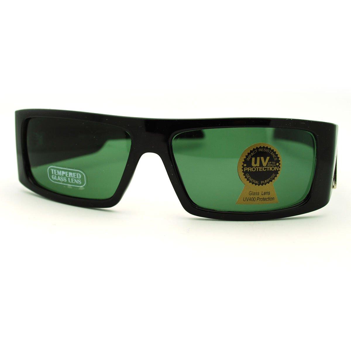 Glass Lens Sunglasses Mens Flat Top Rectangular USA Frame