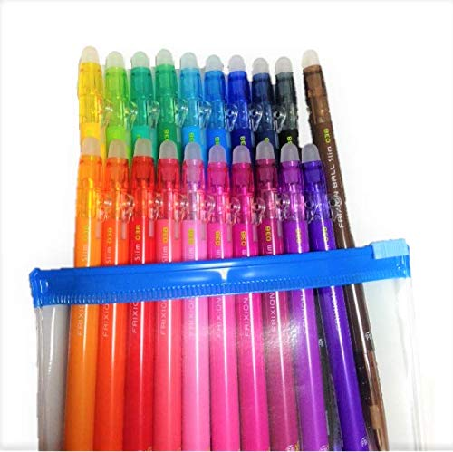 Pilot FriXion Ball Slim Retractable Erasable Gel Ink Pens, Extra Fine Point, 0.38 mm, 20 colors, Clear case and 3 color refills Value Set by Pilot (Image #6)