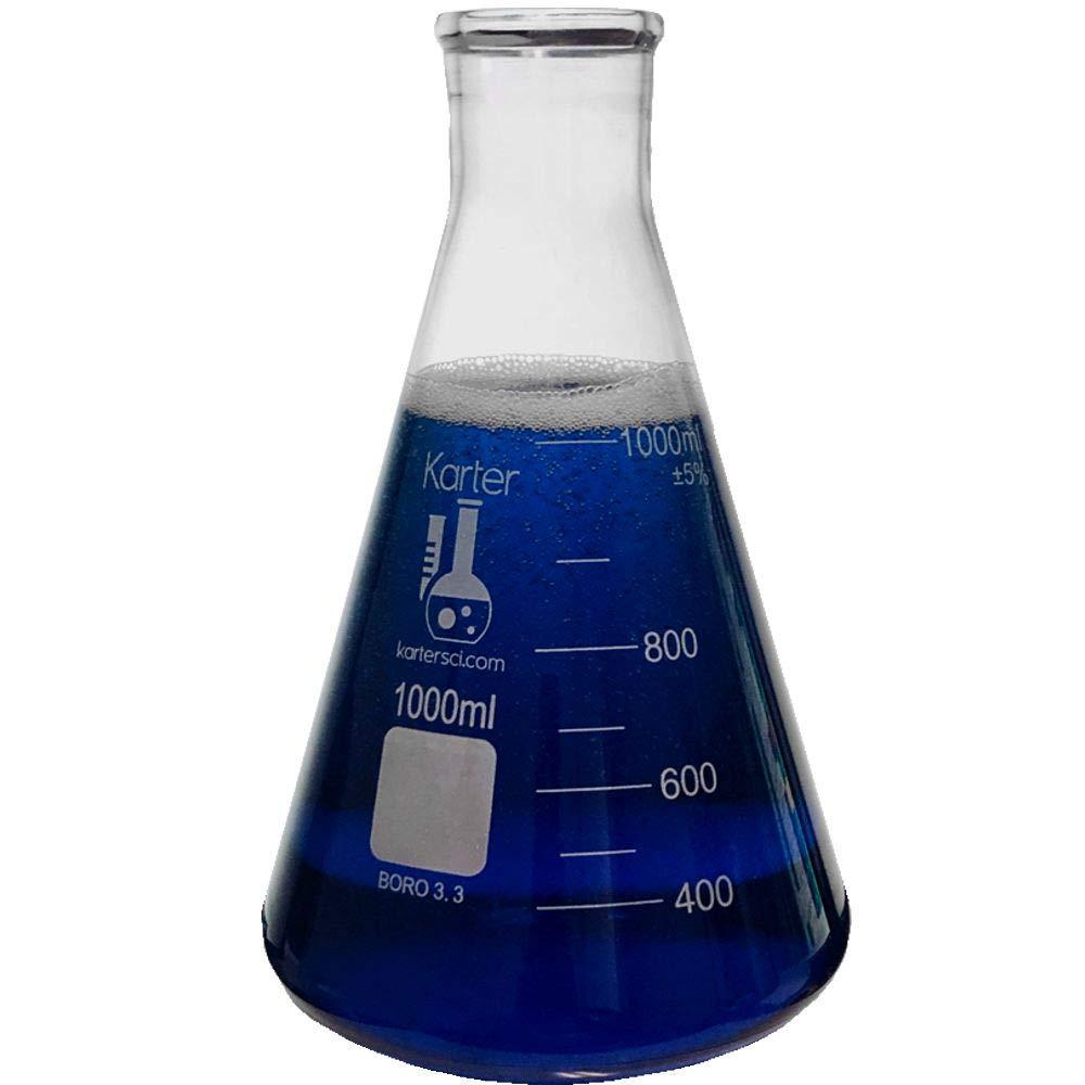 1000ml Narrow Mouth Erlenmeyer Flask, 3.3 Borosilicate Glass, Karter Scientific 213G22 (Single)