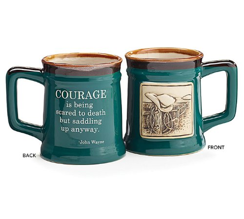 1 X Western Courage Message Mug 18oz Coffee Tea Mug-Gift John Wayne